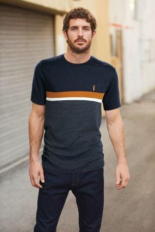 Navy/Orange Block Soft Touch Regular Fit T-Shirt
