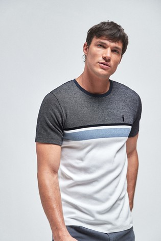 White/Blue Block Soft Touch Regular Fit T-Shirt