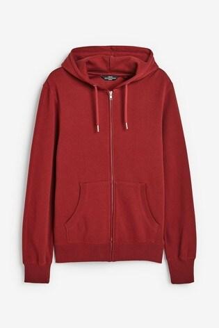 Red Zip Through Hoody