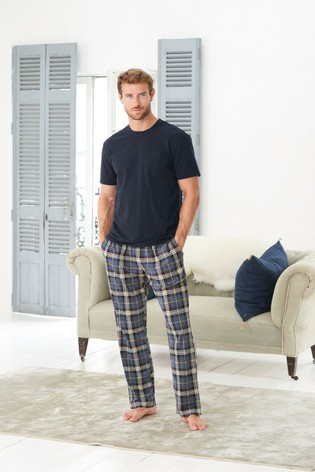 Navy/Blue Check Cosy Pyjama Set