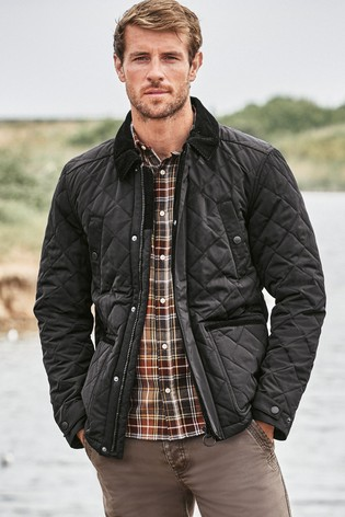 Black Cord Collar Shower Resistant Diamond Quilted Funnel Neck Jacket