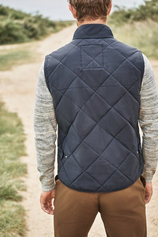 Navy Shower Resistant Diamond Quilted Gilet