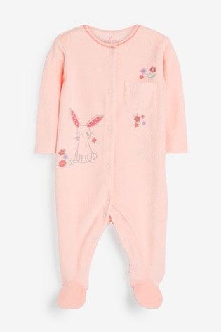 Pink Bunny Velour Sleepsuit (0mths-3yrs)