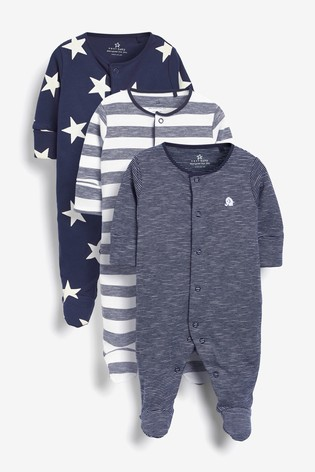 Navy 3 Pack Star Stripe Sleepsuits (0mths-2yrs)