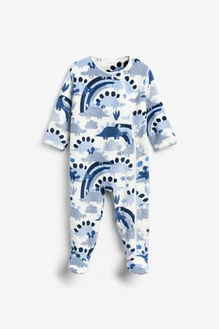 Pale Blue Dinosaur Fleece Sleepsuit (0mths-3yrs)