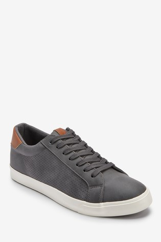 Grey Perforated Trainers