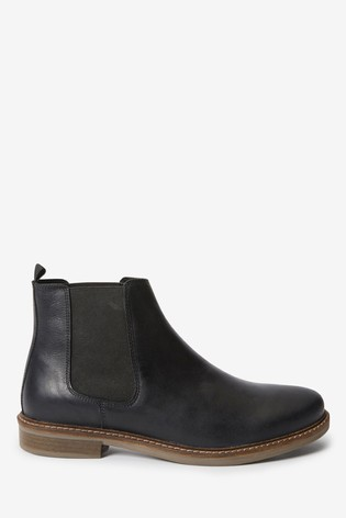Black Leather Waxy Finish Chelsea Boots