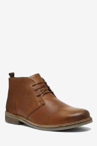 Tan Waxy Finish Leather Chukka Boots