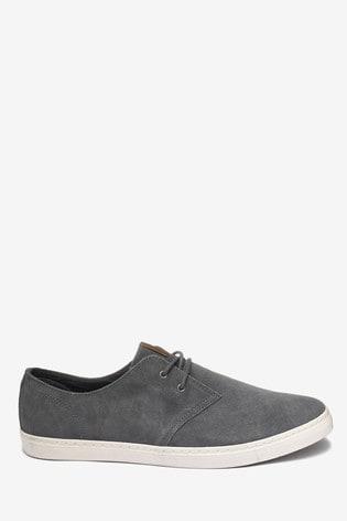 Grey Casual Suede Derby Shoes