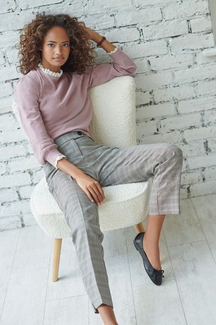 Neutral Check Slim Trousers
