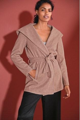 Pink Belted Hooded Coat