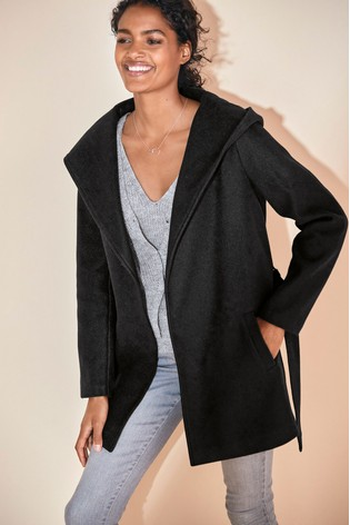 Black Belted Hooded Coat