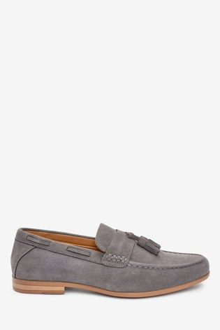 Grey Faux Suede Textured Tassel Loafers