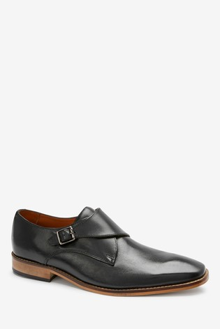 Black Single Monkstrap Leather Shoes