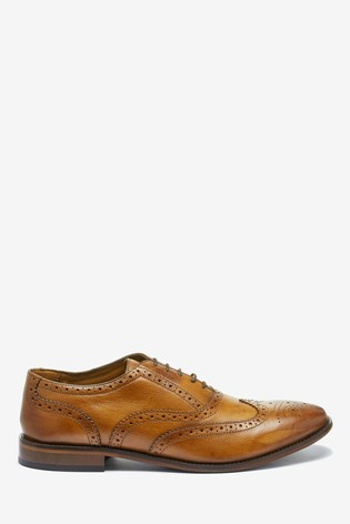 Tan Oxford Leather Brogue Shoes