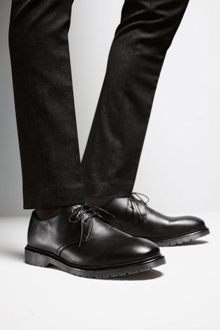 Black Cleated Sole Derby Shoes
