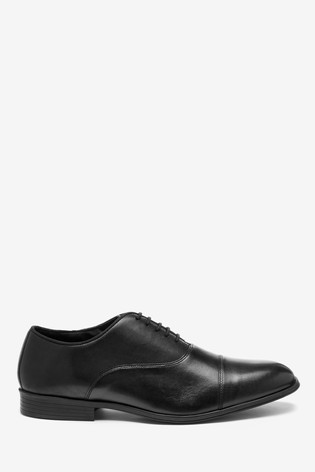 Black Toe Cap Leather Oxford Shoes
