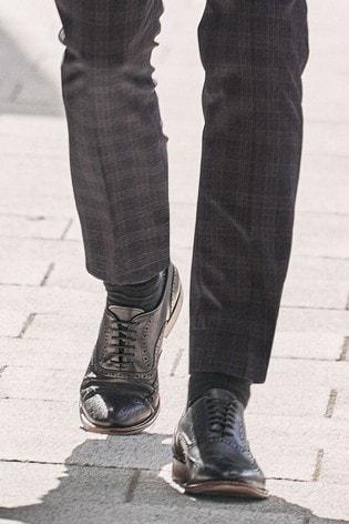 Black Signature Italian Leather Wing Cap Brogues