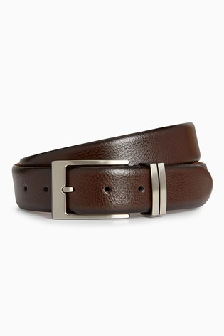 Brown Signature Italian Leather Metal Loops Belt