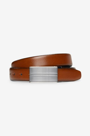 Black/Tan Signature Reversible Italian Leather Plaque Belt