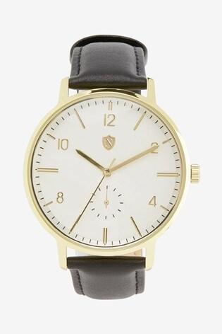 Black Strap Leather Strap Watch