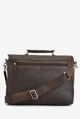 Dark Brown Signature Leather Oily Briefcase