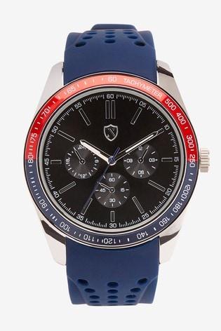 Blue Silicone Strap Watch