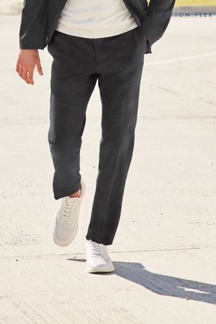 Charcoal Puppytooth Skinny Fit Jersey Suit: Trousers