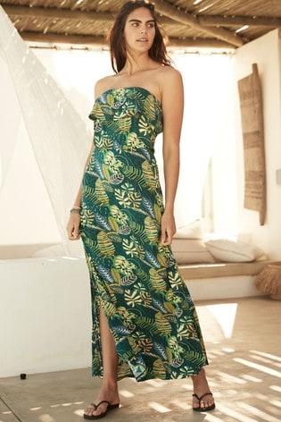 Leaf Print Boobtube Maxi Dress