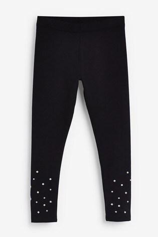 Black Pearl Detail Leggings (3-16yrs)