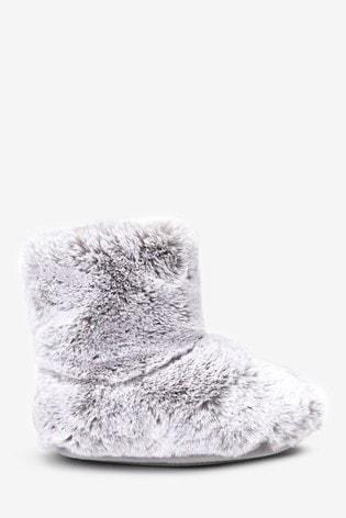Buy Grey Faux Fur Slipper Boots (Older
