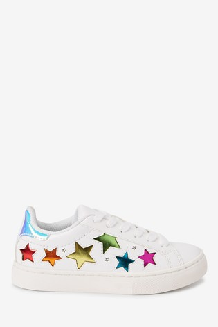 White Rainbow Star Light-Up Trainers (Older)