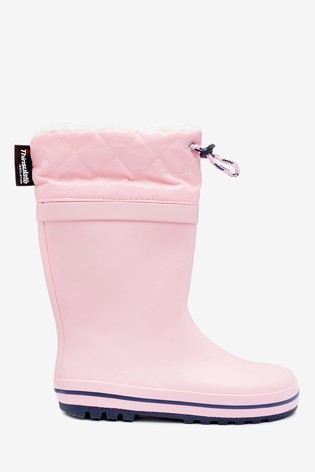 Pink Warm Lined Cuff Wellies (Older)