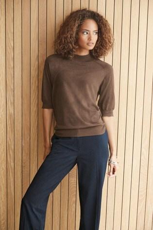 Brown High Neck T-Shirt