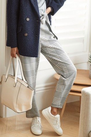 Neutral Check Ponte Peg Trousers