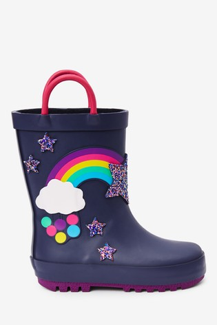 Navy Rainbow Handle Wellies (Younger)