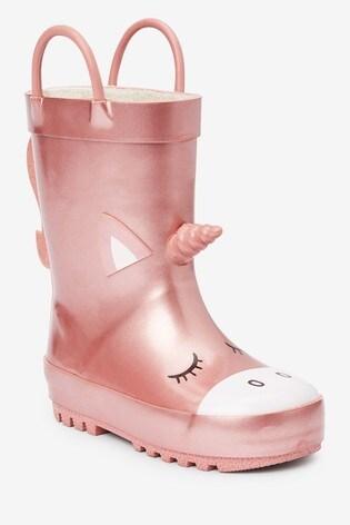 Pink Unicorn Handle Wellies (Younger)