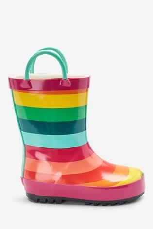 Rainbow Stripe Handle Wellies (Younger)