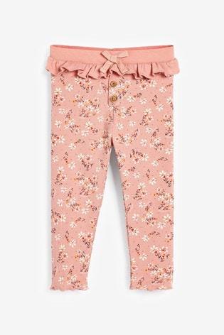 Pink Ditsy Frill Rib Leggings (3mths-7yrs)