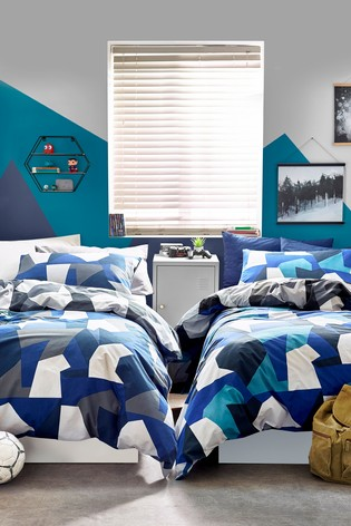 2 Pack Geometric Camo Reversible Duvet Cover and Pillowcase Set