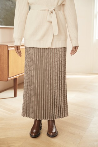Neutral Check Pleated Skirt
