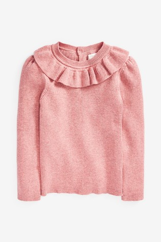 Pink Frill Neck Knitted Top (3mths-7yrs)