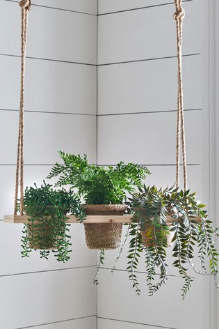 Set of 3 Artificial Plants In Hanging Stand