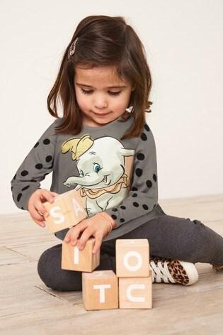 Charcoal Dumbo Spot Print Long Sleeve Top (3mths-7yrs)
