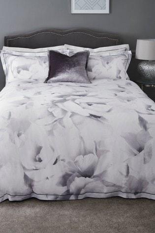 200 Thread Count 100% Cotton Sateen Mono Rose Duvet Cover And Pillowcase Set
