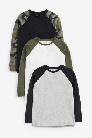 Multi 3 Pack Camo Raglan T-Shirts (3-16yrs)