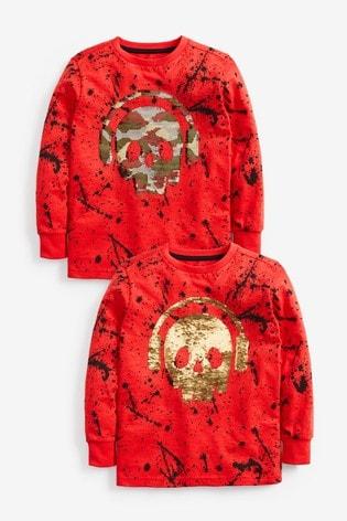 Red Long Sleeve Skull Sequin T-Shirt (3-16yrs)
