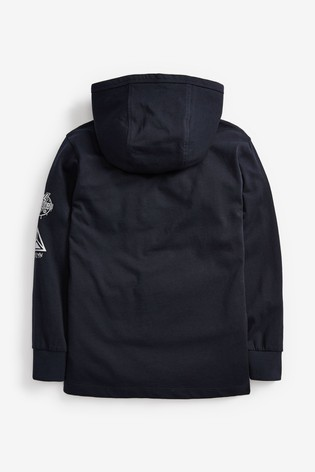 Navy Long Sleeve Skull Hooded T-Shirt (3-16yrs)