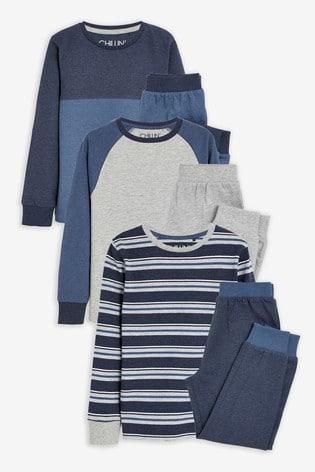 Blue 3 Pack Pyjamas (3-16yrs)