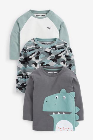 Mineral Dino 3 Pack Long Sleeve Character T-Shirts (3mths-7yrs)